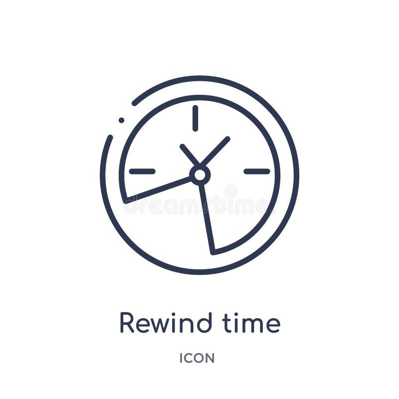 Lineair wind tijdpictogram van Algemene overzichtsinzameling opnieuw op De dunne die lijn windt tijdpictogram opnieuw op op witte stock illustratie