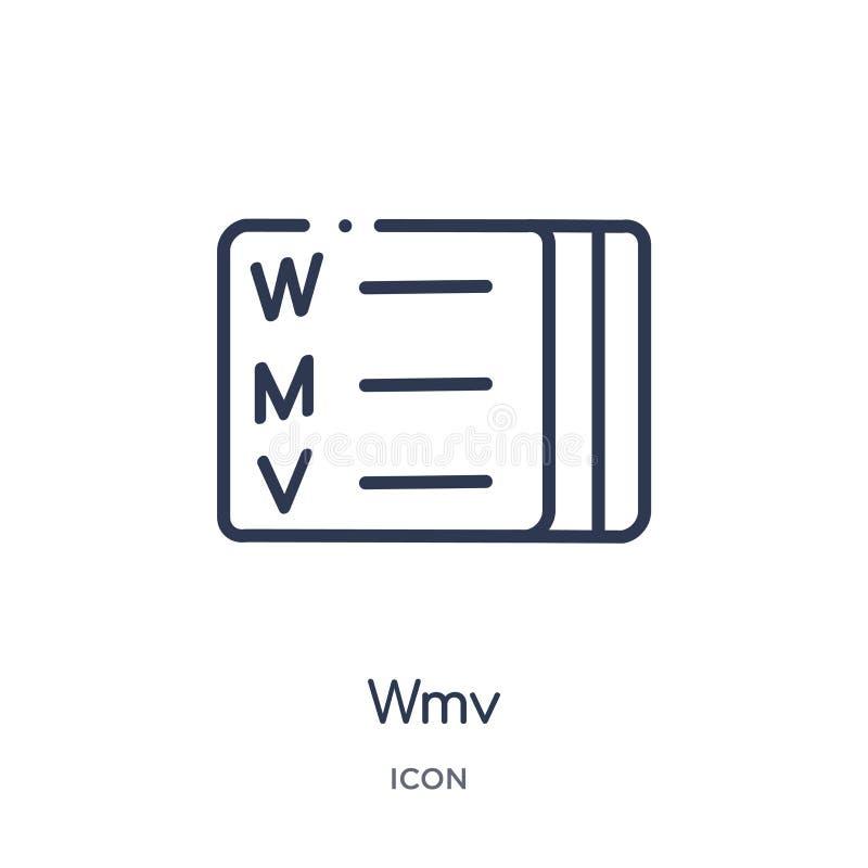 Lineair wmvpictogram van de inzameling van het Bestandstypeoverzicht Dunne die lijn wmv vector op witte achtergrond wordt geïsole royalty-vrije illustratie