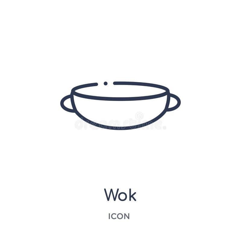 Lineair wokpictogram van de inzameling van het Keukenoverzicht Het dunne die pictogram van de lijnwok op witte achtergrond wordt  stock illustratie