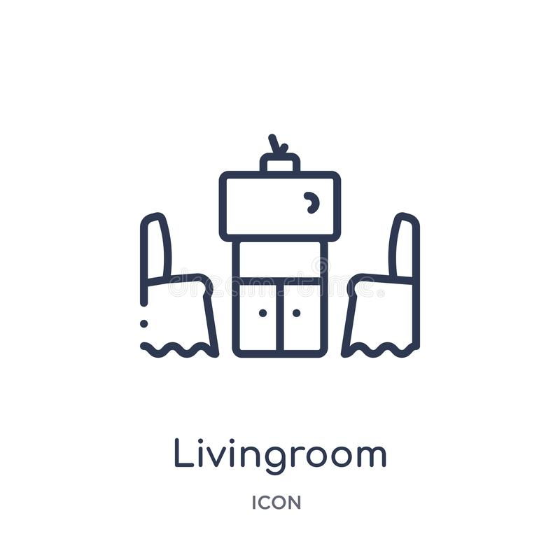 Lineair woonkamerpictogram van Meubilair en huishoudenoverzichtsinzameling Het dunne die pictogram van de lijnwoonkamer op witte  royalty-vrije illustratie
