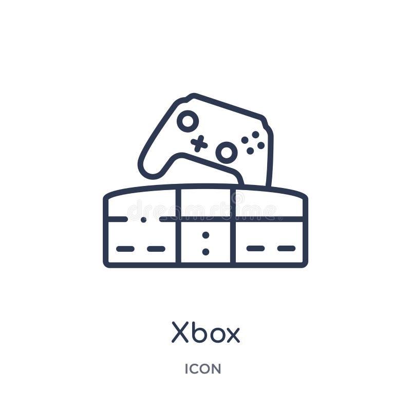 Lineair xboxpictogram van Vermaak en de inzameling van het arcadeoverzicht Dunne die lijn xbox vector op witte achtergrond wordt  royalty-vrije illustratie