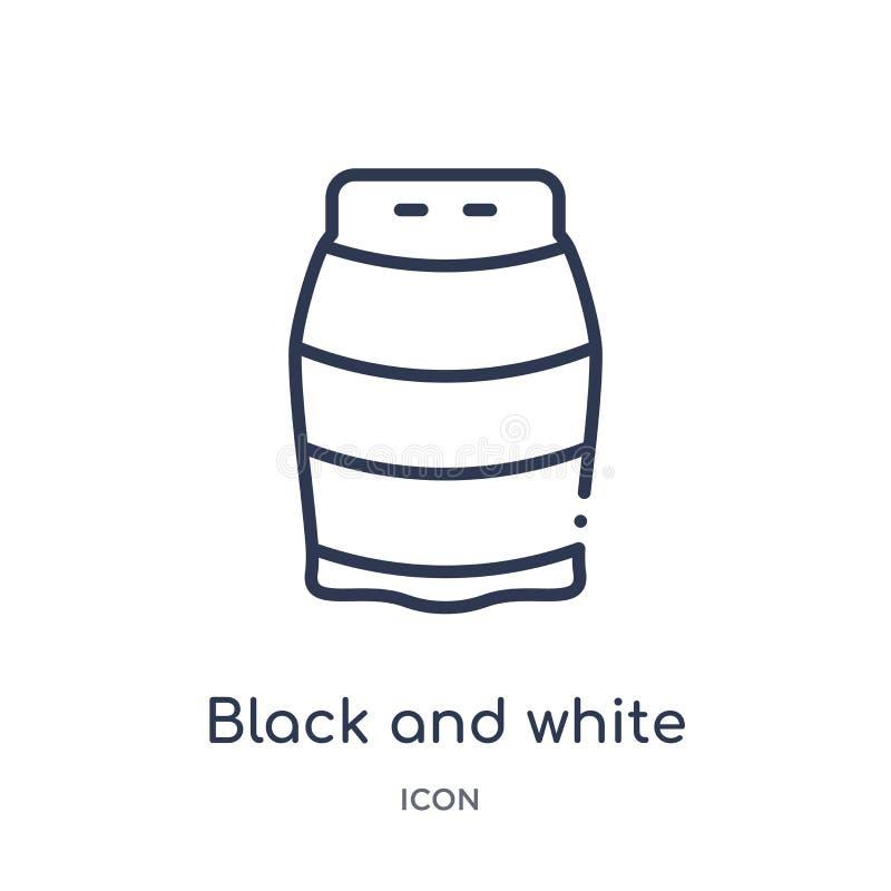 Lineair zwart-wit pictogram van de inzameling van het Manieroverzicht Dun lijn zwart-wit pictogram dat op witte achtergrond wordt royalty-vrije illustratie