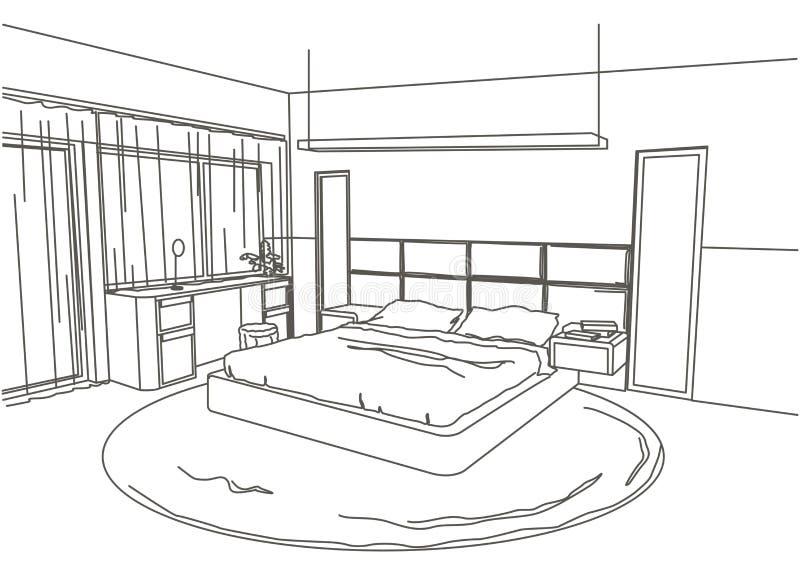Lineaire architecturale schets binnenlandse moderne slaapkamer stock illustratie