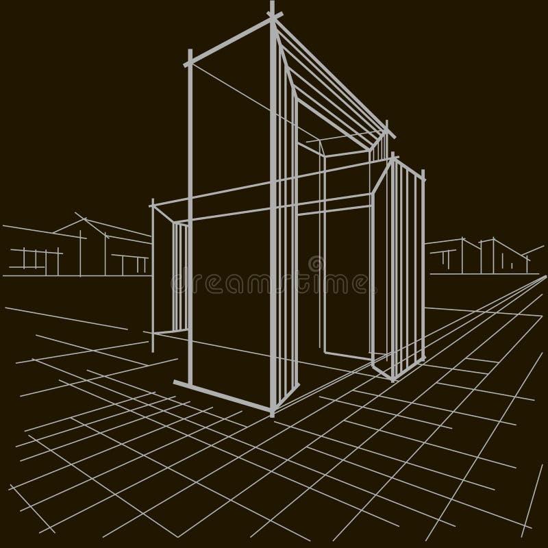Lineaire architecturale schets twee snijdende bogen op zwarte achtergrond stock foto