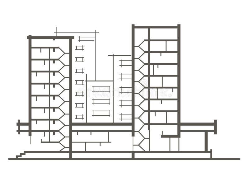 Lineaire architecturale schets van de bouw met meerdere verdiepingen Sectionele tekening royalty-vrije stock foto's