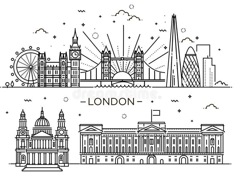 Lineaire banner van de stad van Londen royalty-vrije illustratie