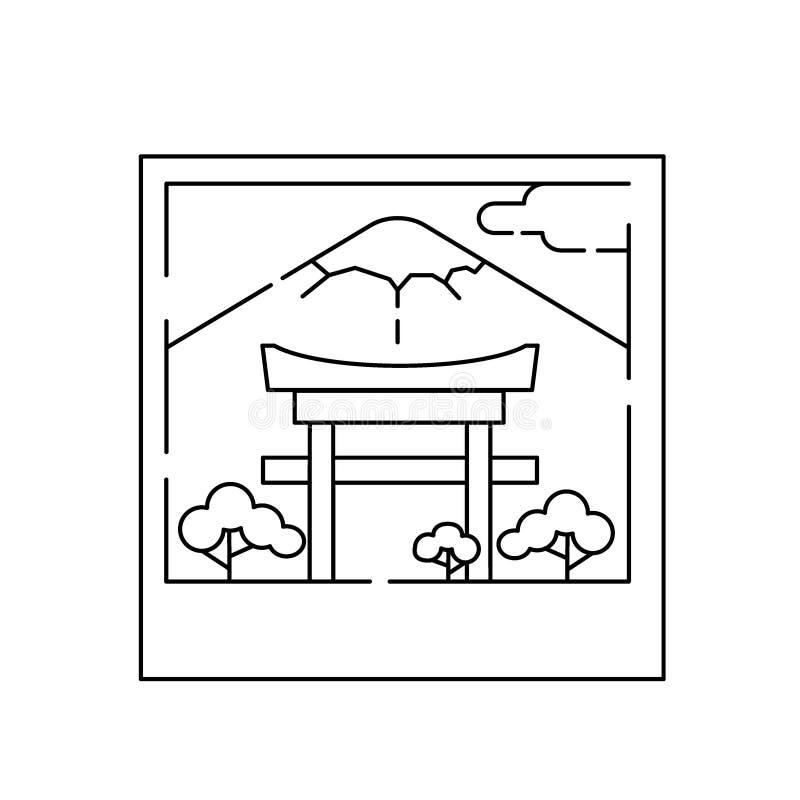 Lineaire banner van Japan Lijnkunst en een kader vector illustratie