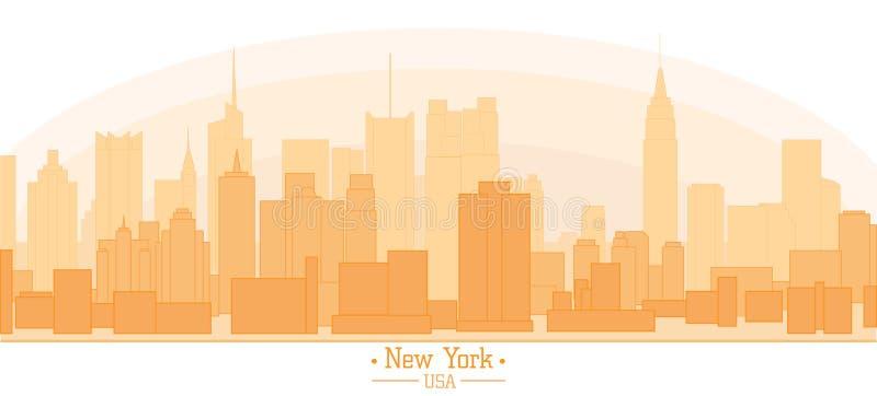 Lineaire banner van van de stadsgebouwen van New York van de de oriëntatiepuntendag de horizon s vector illustratie