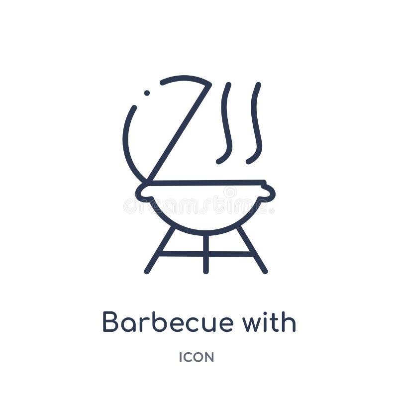 Lineaire barbecue met wielenpictogram van de Amerikaanse inzameling van het voetbaloverzicht Dunne lijnbarbecue met geïsoleerde w vector illustratie
