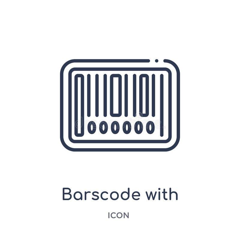 Lineaire barscode met nulpictogram van de inzameling van het Handelsoverzicht Dunne die lijn barscode met nulpictogram op witte a royalty-vrije illustratie