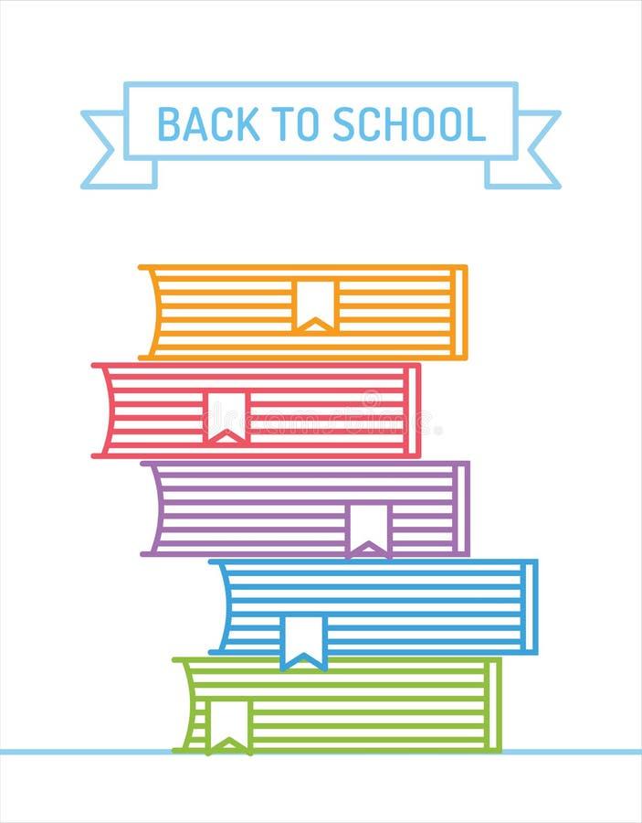Lineaire boekenstapel Onderwijs, universiteit, universiteit stock illustratie