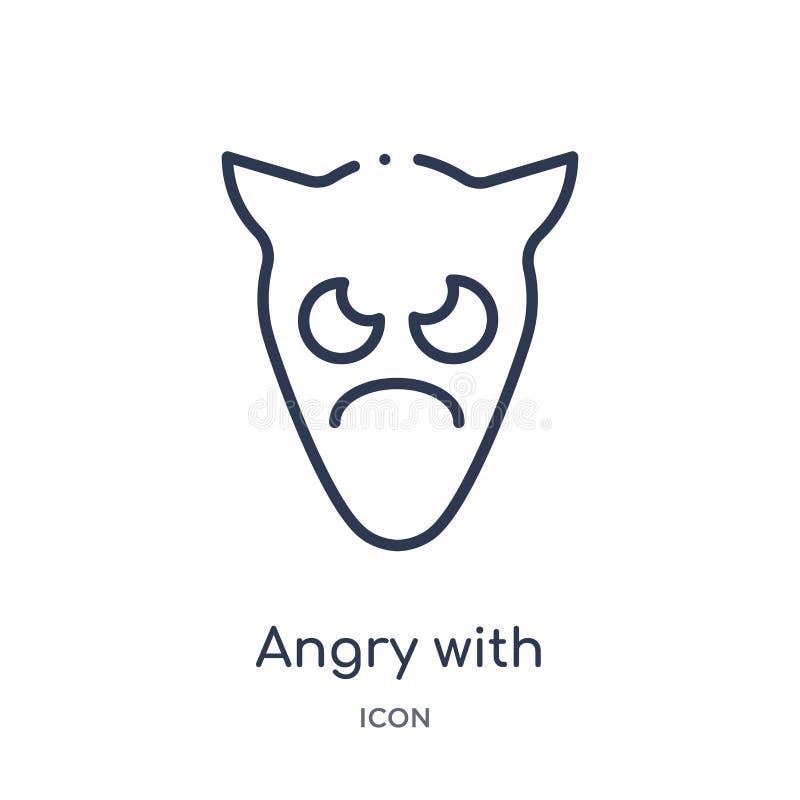 Lineaire boos met het pictogram van hoornenemoji van Emoji-overzichtsinzameling Dunne die lijn boos met de vector van hoornenemoj stock illustratie