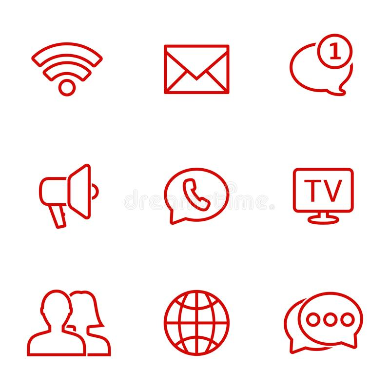 Lineaire communicatie geplaatste pictogrammen Universeel communicatie in Web te gebruiken en mobiel pictogram royalty-vrije illustratie
