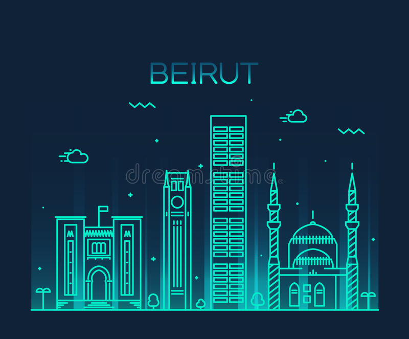 Lineaire de horizon in vectorillustratie van Beiroet stock illustratie