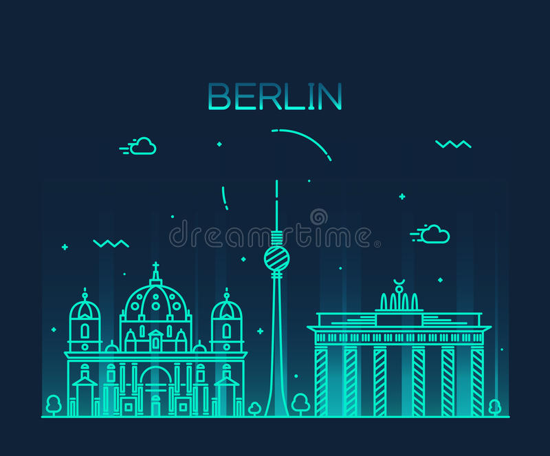 Lineaire de horizon in vectorillustratie van Berlijn stock illustratie