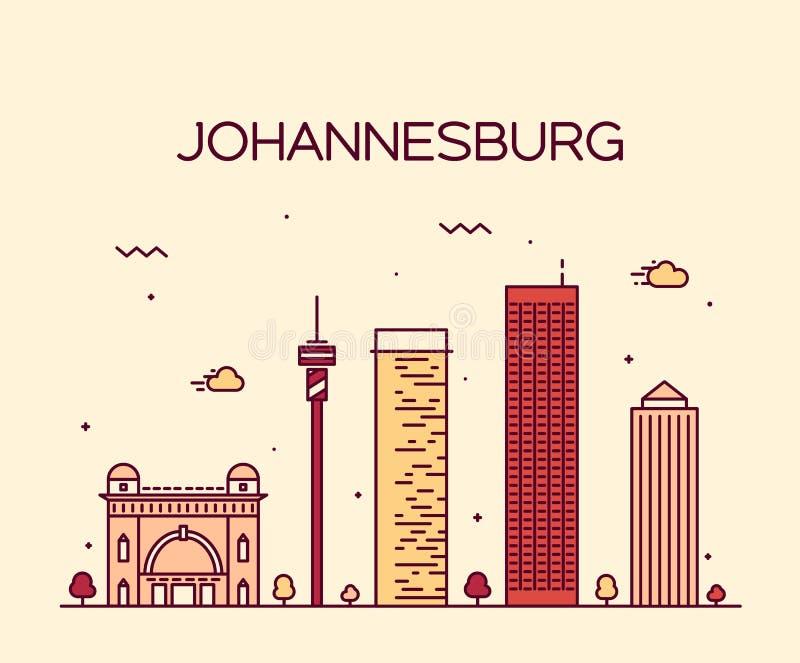 Lineaire de horizon vectorillustratie van Johannesburg royalty-vrije illustratie