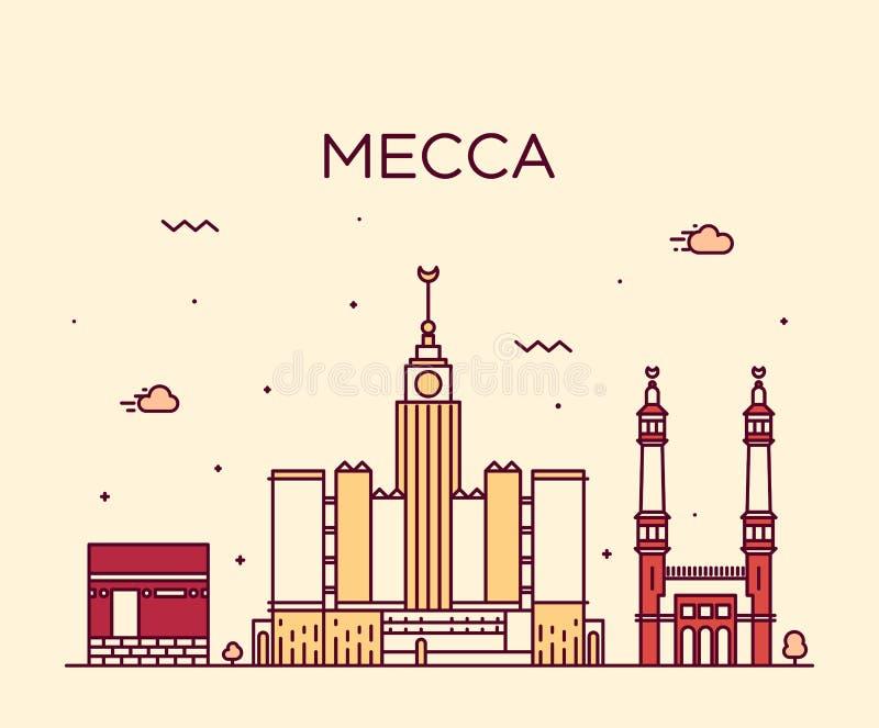 Lineaire de horizon In vectorillustratie van Mekka stock illustratie