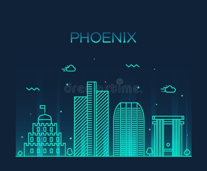 Lineaire de horizon in vectorillustratie van Phoenix stock illustratie