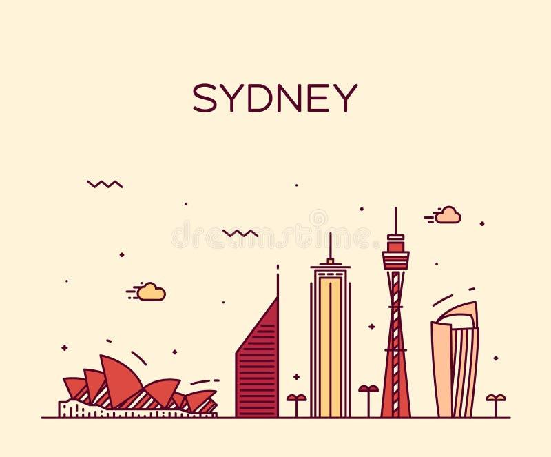 Lineaire de horizon in vectorillustratie van Sydney stock illustratie