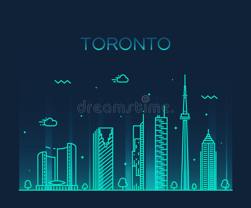 Lineaire de horizon in vectorillustratie van Toronto stock illustratie
