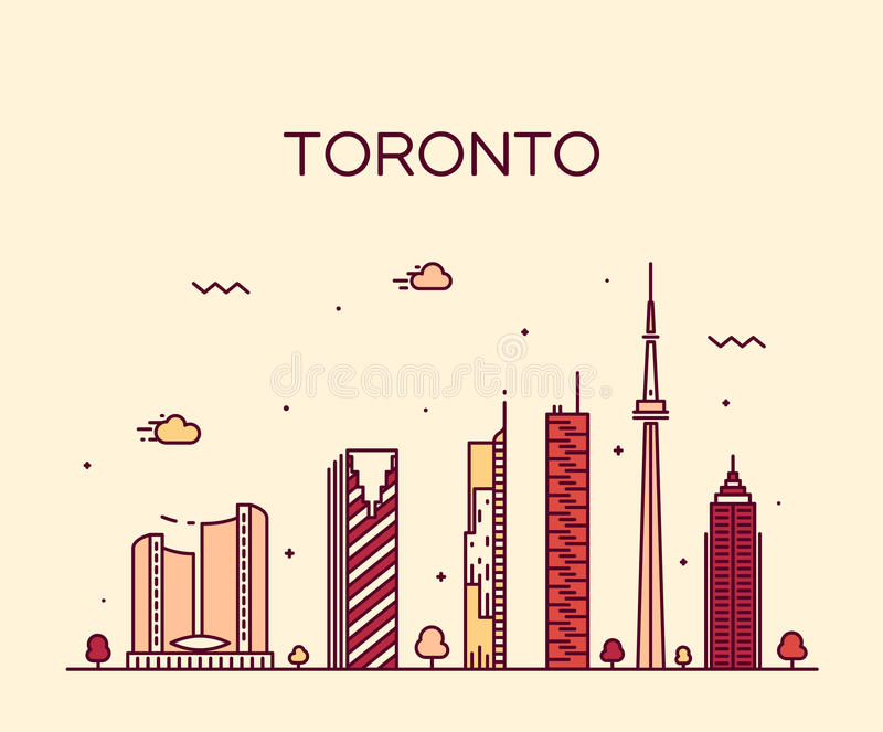 Lineaire de horizon in vectorillustratie van Toronto vector illustratie