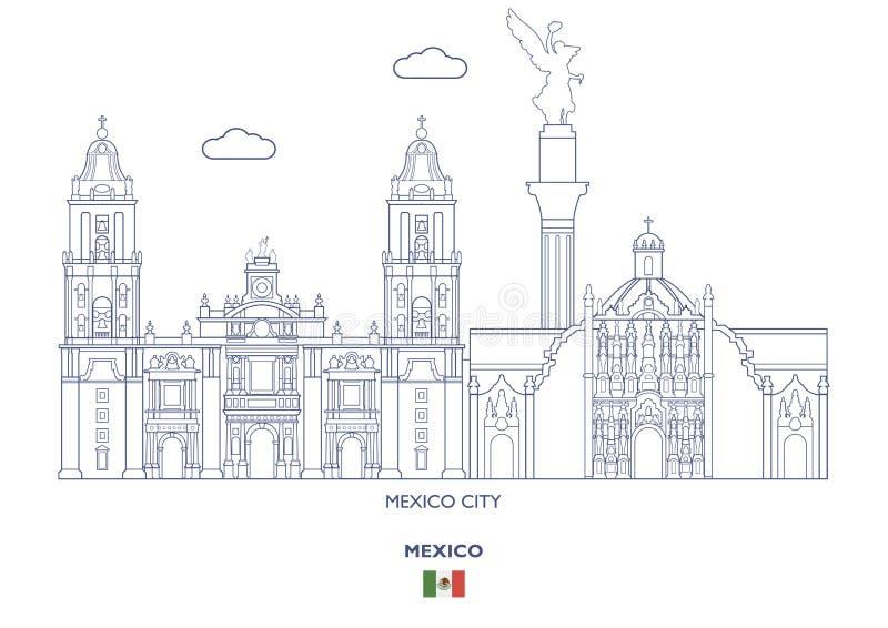 Lineaire de Stadshorizon van Mexico royalty-vrije illustratie