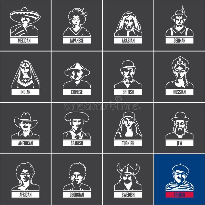 Lineaire die mensenpictogrammen op zwarte achtergrond, verschillende nationaliteiten, traditionele kleding, nationaal kostuum wor royalty-vrije illustratie