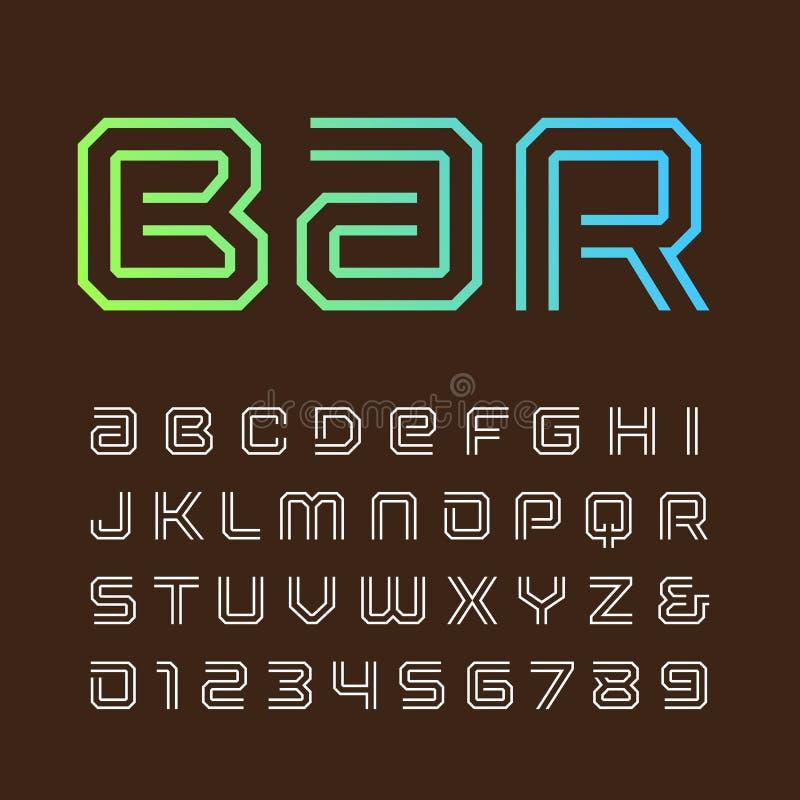 Lineaire doopvont Vectoralfabet met strepeneffect brieven en num stock illustratie