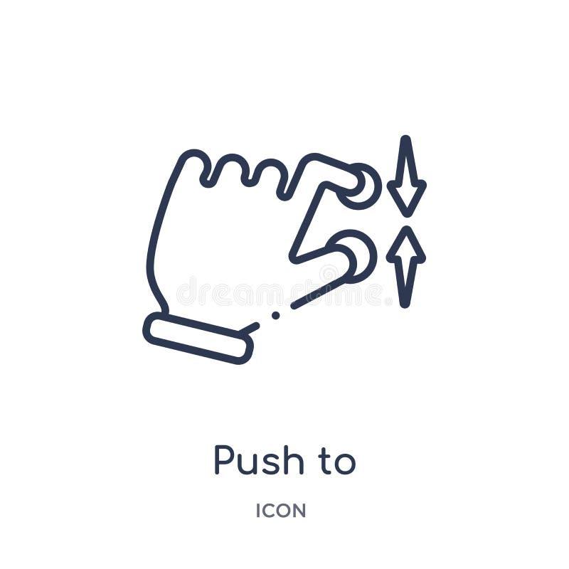 Lineaire duw om gebaarpictogram van Handen en guesturesoverzichtsinzameling te minimaliseren Dunne lijnduw om geïsoleerd gebaarpi stock illustratie