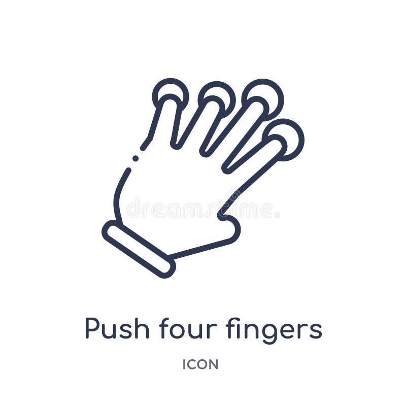 Lineaire duw vier vingerspictogram van Handen en guesturesoverzichtsinzameling Dunne die lijnduw vier vingerspictogram op wit wor royalty-vrije illustratie