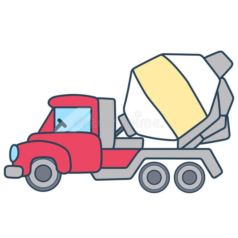 Lineaire eenvoudige die cementvrachtwagen op witte ruimte wordt gescheiden stock afbeeldingen