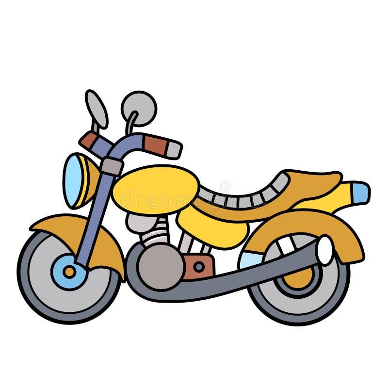 Lineaire eenvoudige die motorfiets op witte ruimte wordt gescheiden royalty-vrije stock afbeeldingen