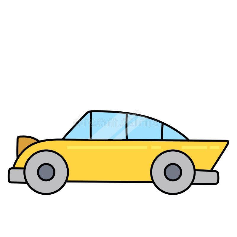 Lineaire eenvoudige die sportwagen op witte ruimte wordt gescheiden stock afbeeldingen