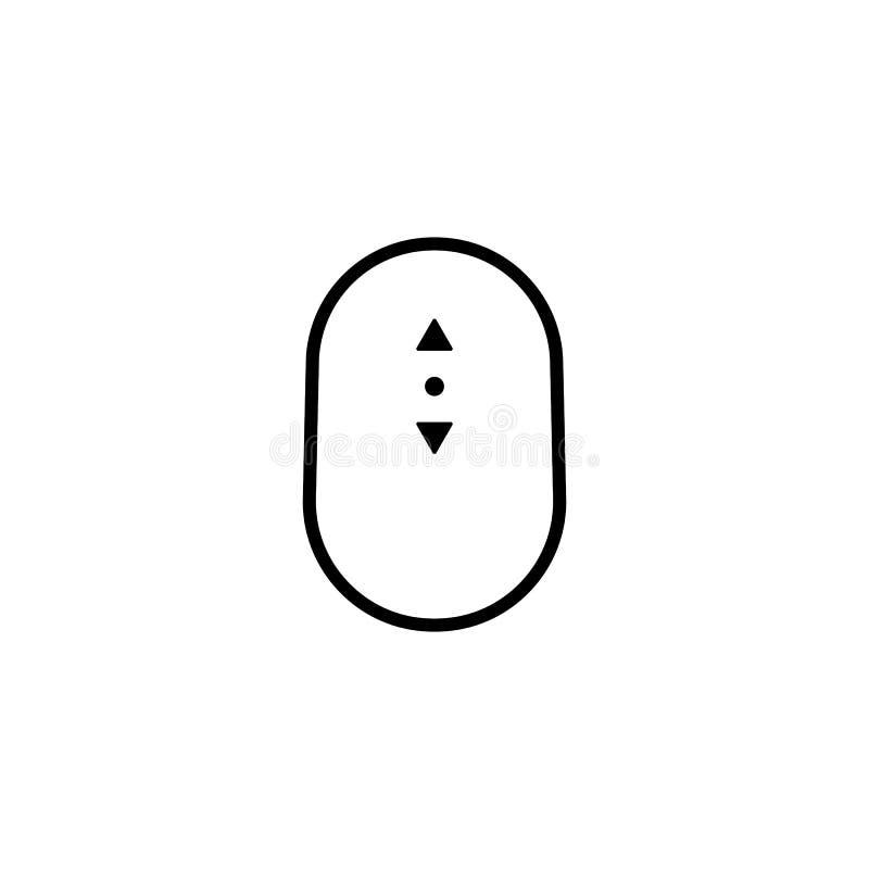 Lineaire eenvoudige zwarte boven en beneden rolpictogram vector illustratie