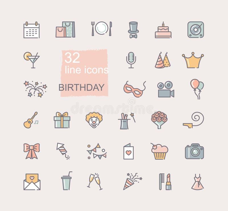 Lineaire geplaatste verjaardagspictogrammen De gelukkige symbolen van de verjaardagspartij vector illustratie