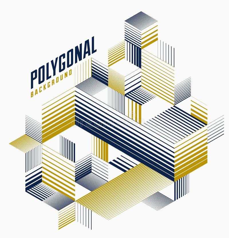 Lineaire gestreepte abstracte vector dimensionale 3D achtergrond met geïsoleerd retro stijl grafisch element met kubussen en drie royalty-vrije illustratie