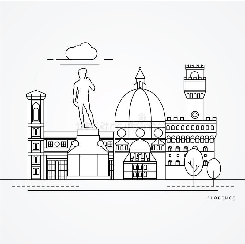 Lineaire illustratie van Florence, Italië stock illustratie