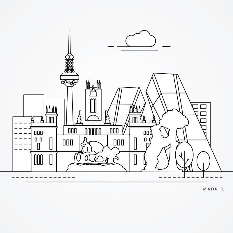Lineaire illustratie van Madrid, Spanje vector illustratie