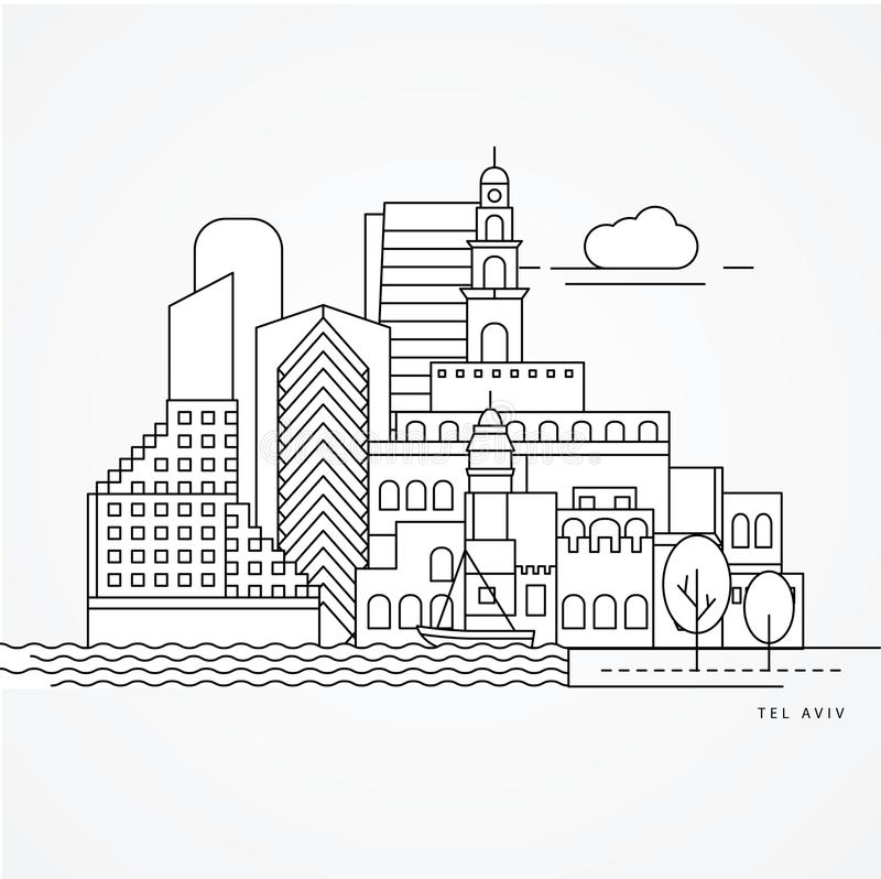 Lineaire illustratie van Tel Aviv, Israël Vlakke lijnstijl royalty-vrije illustratie