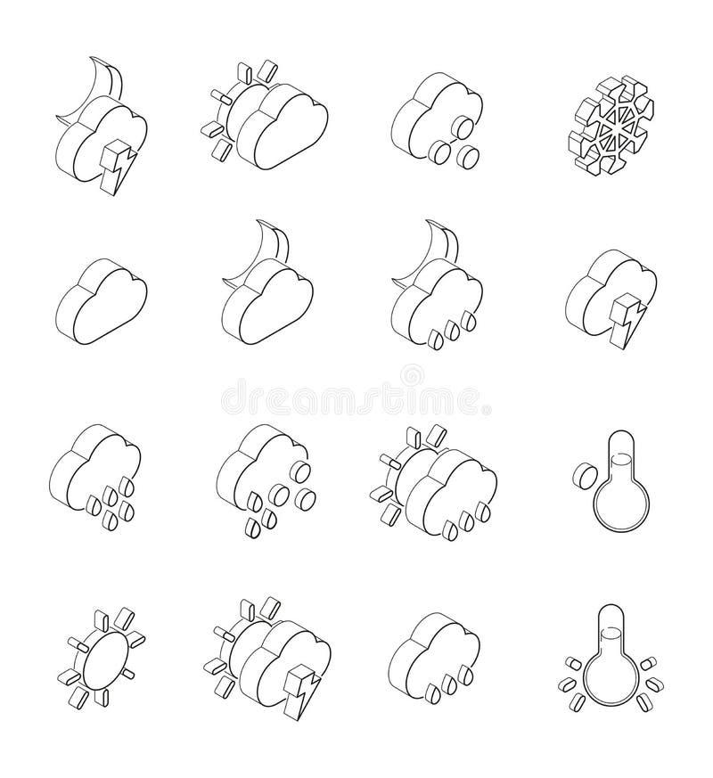 Lineaire illustraties van weersymbolen De isometrische geplaatste pictogrammen isoleren op wit vector illustratie