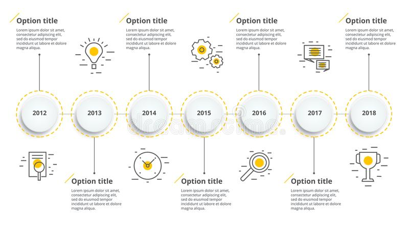 Lineaire infographics van het bedrijfschronologiewerkschema Collectieve het meest milest royalty-vrije illustratie