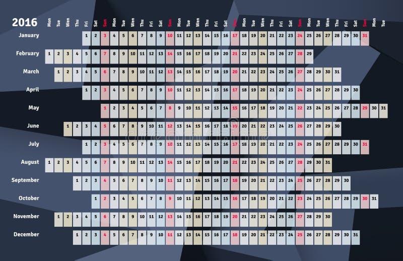 Lineaire kalender 2016 royalty-vrije illustratie
