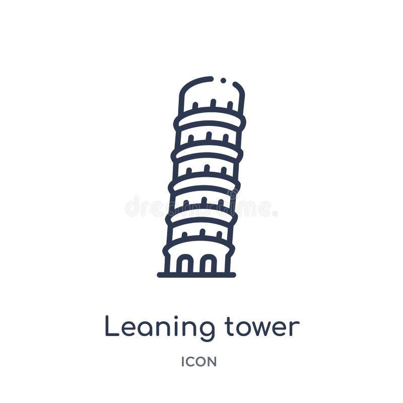 Lineaire leunende toren van het pictogram van Pisa van Architectuur en de inzameling van het reisoverzicht Dunne lijn leunende to vector illustratie