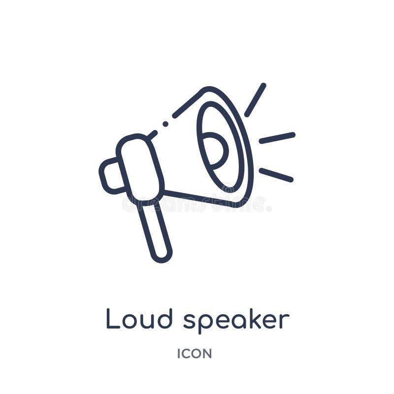 Lineaire luide spreker die juist pictogram van de inzameling van het Bioskoopoverzicht onder ogen zien Dunne lijn luide spreker d stock illustratie
