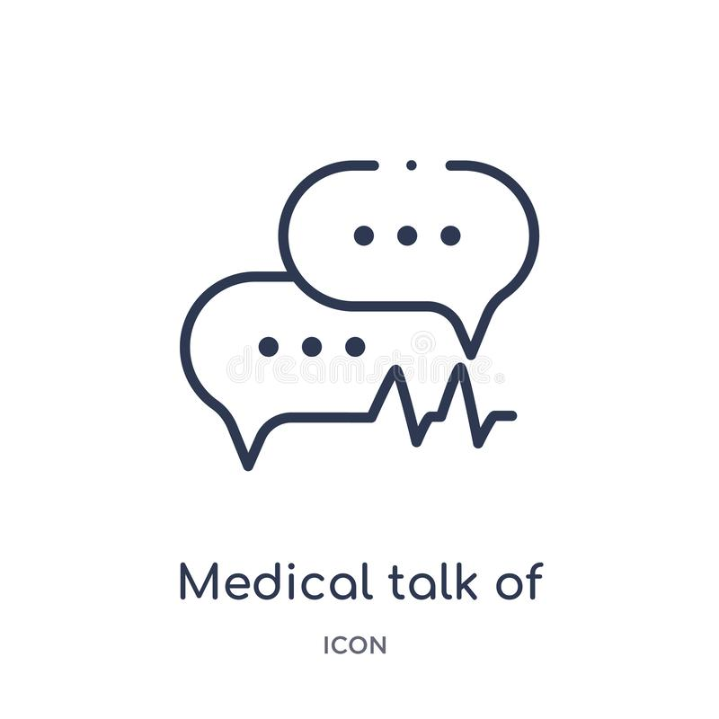 Lineaire medische bespreking van rechthoekig pictogram van Medische overzichtsinzameling Dunne geïsoleerde lijn medische bespreki royalty-vrije illustratie