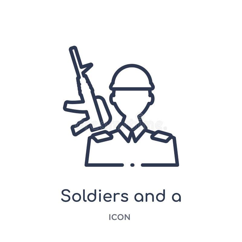 Lineaire militairen en een wapenpictogram van de inzameling van het Legeroverzicht Dunne die lijnmilitairen en een wapenvector op vector illustratie