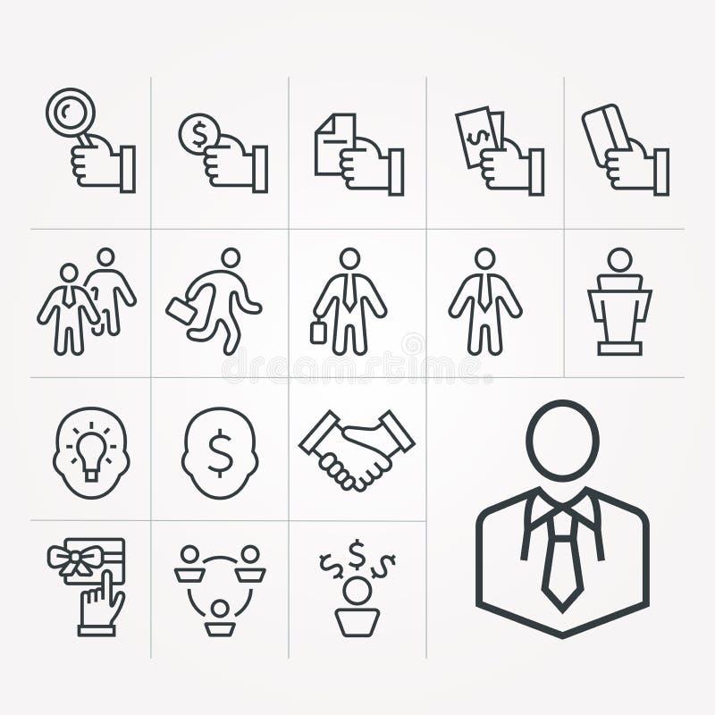 Lineaire pictogrammen met bedrijfsmensen vector illustratie