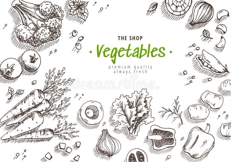 Lineaire pizzaachtergrond Snel voedselachtergrond Lineaire grafisch Snackinzameling Ongezonde kost Gegraveerde hoogste mening vector illustratie