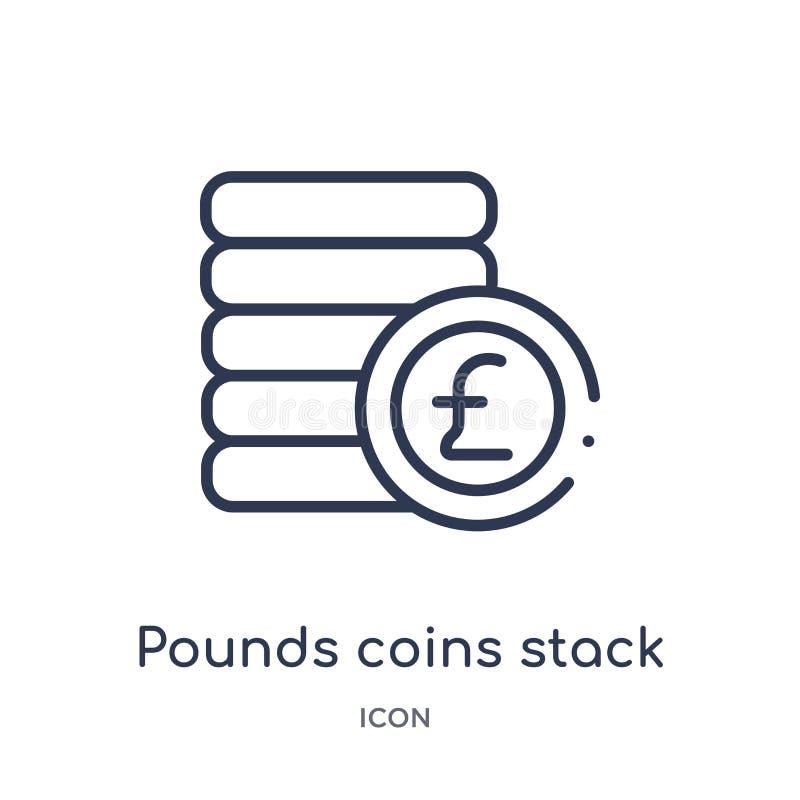 Lineaire ponden van de muntstukkenstapel het pictogram van Bedrijfsoverzichtsinzameling De dunne die lijn verplettert het pictogr stock illustratie