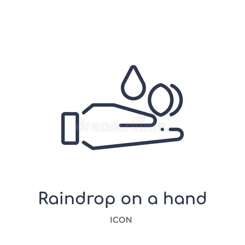 Lineaire regendruppel op een handpictogram van de inzameling van het Ecologieoverzicht Dunne die lijnregendruppel op een handvect royalty-vrije illustratie